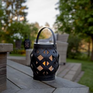 LED-lykta Flame Lantern, svart, höjd 16 cm