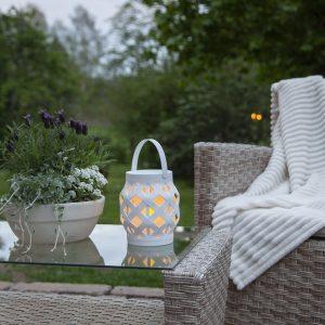 LED-lykta Flame Lantern, vit, höjd 16 cm