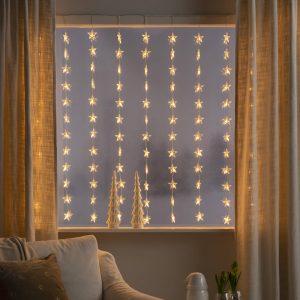 LED-ljusgardin Stjärnor 120 lampor, bärnsten