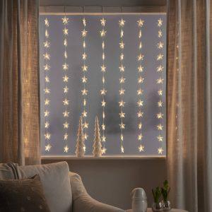 LED-ljusgardin Stjärnor 120 lampor, varmvit