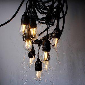 Ljusslinga Girlanda IP44 svart 15 m utan lampor